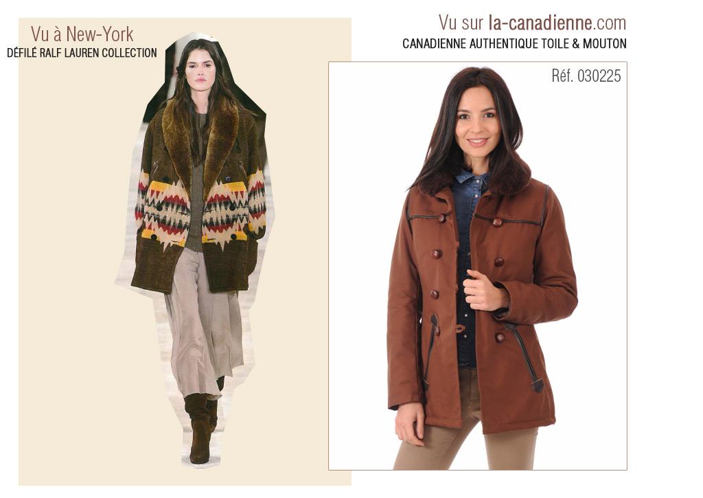 Canadienne Authentique Femme toile et mouton