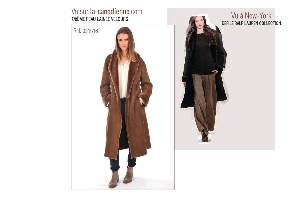 Manteau 7/8 peau lainée